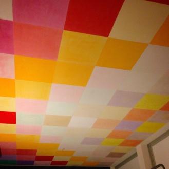 decorazione del soffitto, quadrati a calce e pigmenti